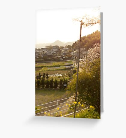late afternoon countryside japan Greeting Card