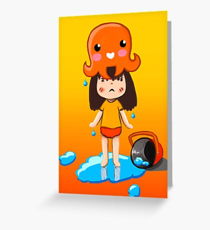 Girl vs Octopus Greeting Card