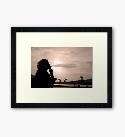 woman with cigarette Framed Print
