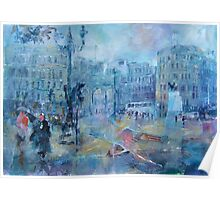 Trafalgar Square London on a Rainy Day Poster