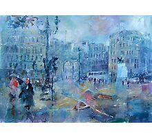 Trafalgar Square London on a Rainy Day Photographic Print
