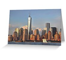 Lower Manhattan view from the Hudson River, NYC Greeting Card