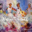 Flamenco Dancers Painting – Happy Birthday Card by Ballet Dance-Artist