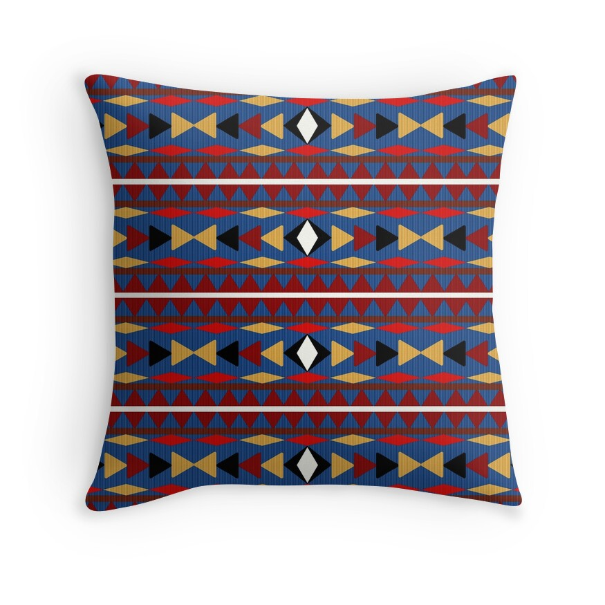 Blue Aztec Throw Pillows :