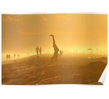 Golden Sunset Beach Silhouettes Poster
