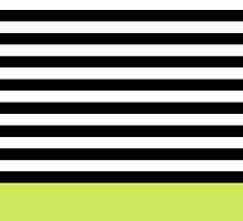Lime Green Black White Striped Pattern by cikedo
