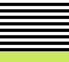 Lime Green Black White Striped Pattern by cikedo