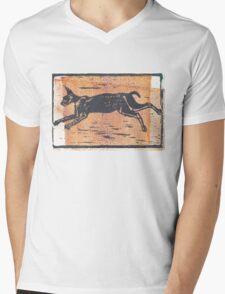 CT Block Print Art - Caracal Mens V-Neck T-Shirt