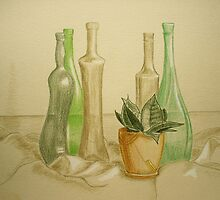 Still life with bottles by Solotry