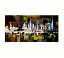 London City Skyline Abstract Painting Art Print