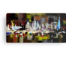 London City Skyline Abstract Painting Metal Print