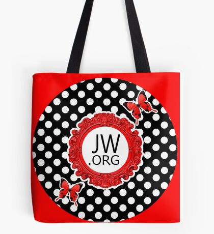 JW.ORG (Retro Red and Butterflies) Tote Bag