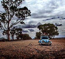 Little Blue Beatle ~ Road Trip  by Pene Stevens