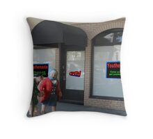 A poor business name and slogan practically guaranteed the quick demise of the new store. Throw Pillow