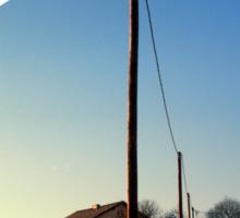Powerline, sundown and winter wonderland | landscape photography Sticker