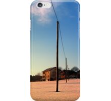 Powerline, sundown and winter wonderland | landscape photography iPhone Case/Skin