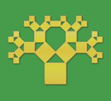 Pythagoras Tree Fractal, Patterns Of Creation, Mathematics, Geometic Kids Tee