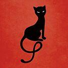 Red Gracious Evil Black Cat by Boriana Giormova