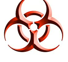 Biohazard symbol; Biological hazard; red embossed by TOM HILL - Designer