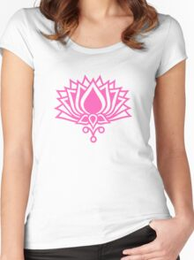 Lotus Flower Symbol Wisdom & Enlightenment Buddhism Zen Women's Fitted Scoop T-Shirt
