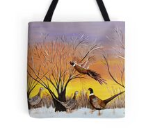 Phesants in the sunsrise  Tote Bag