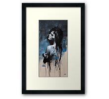GIRL SMOKING BLUES Framed Print
