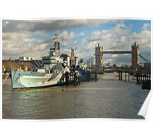 Belfast warship near Tower Bridge Poster