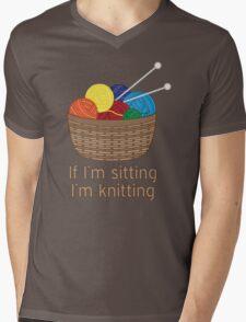 If I'm Sitting, I'm Knitting Mens V-Neck T-Shirt