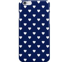 Cute Navy Blue White Heart Pattern iPhone Case/Skin