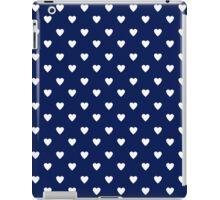 Cute Navy Blue White Heart Pattern iPad Case/Skin