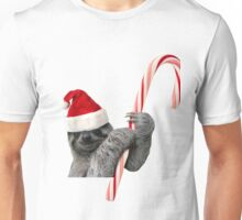 Christmas Sloth with candy cane Unisex T-Shirt