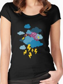 Who Makes the Thunder? - Night  Women's Fitted Scoop T-Shirt