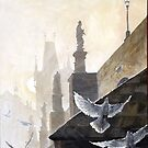 Prague Morning on the Charles Bridge  by Yuriy Shevchuk