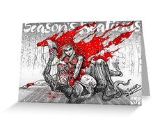 Red Knee Ride Hood - Xmas edition Greeting Card