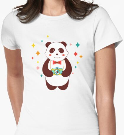 Cute Panda Photographer  Womens Fitted T-Shirt