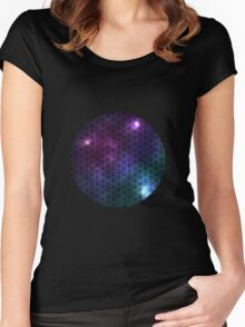 Hexagon pattern space effect Women's Fitted Scoop T-Shirt