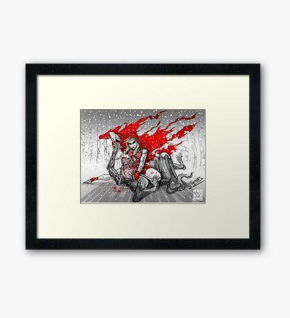 Red Knee-Ride Hood Framed Print