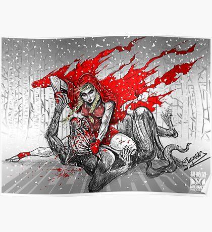 Red Knee-Ride Hood Poster