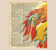 Colourful flaming feathers over old encyclopedia page Dictionary Art Unisex T-Shirt