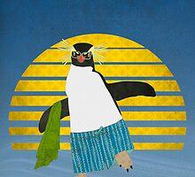 Northern Rockhopper Penguin on Spring Break by Janet Carlson