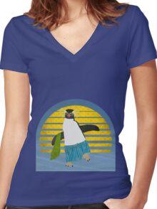 Northern Rockhopper Penguin on Spring Break Women's Fitted V-Neck T-Shirt