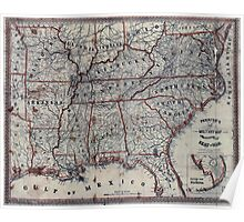 Civil War Maps 1271 Perrine's New military map illustrating the seat of war southern US Poster