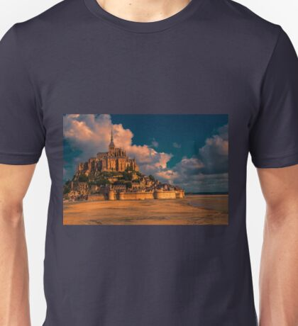 France. Normandy. Mont Saint-Michel in pink light. T-Shirt
