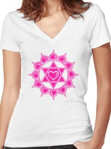 Anahata Heart Chakra Centre Of Love & Compassion Women's Fitted V-Neck T-Shirt