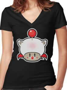 Mushroom-Kupoooo Women's Fitted V-Neck T-Shirt