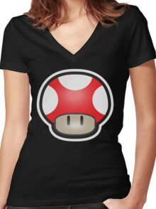 Mushroom-Red Women's Fitted V-Neck T-Shirt
