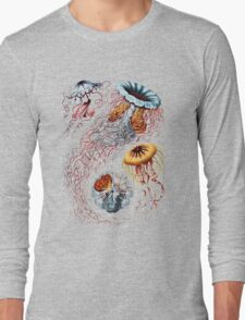 Colourful Jellyfish Marine Animals Illustration Vintage Dictionary Book Page,Discomedusae Long Sleeve T-Shirt