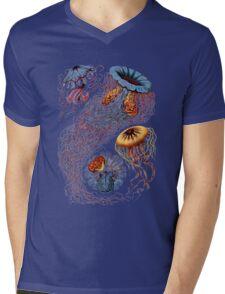 Colourful Jellyfish Marine Animals Illustration Vintage Dictionary Book Page,Discomedusae Mens V-Neck T-Shirt