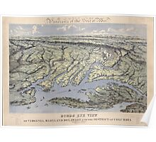 Civil War Maps 1238 Panorama of the seat of war Birds eye view of Virginia Maryland Delaware and the District of Columbia Poster