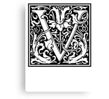 Decorative Letter V Canvas Print
